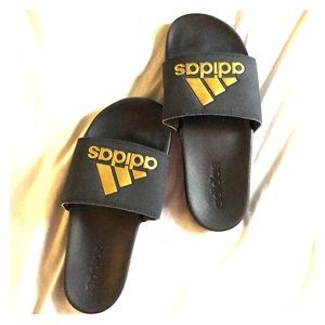 Gold Adidas slides